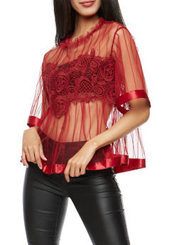 Tulle Shirt with Crochet Applique - BURGUNDY - 3001058751889