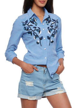 Embroidered Flower Top with Button Front - 3001058753899