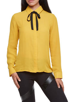 Button Up Shirt with Removable Tie - MUSTARD/BLK - 3001058755082