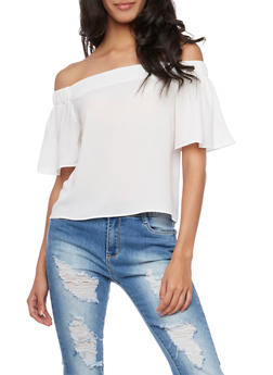 Crepe Off the Shoulder Top - WHITE - 3001058755113