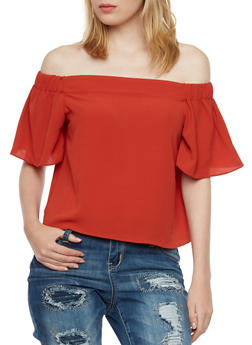 Crepe Off the Shoulder Top - 3001058755113