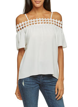 Off The Shoulder Top with Geometric Crochet Trim - IVORY - 3001058755150