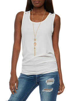 Crepe Knit Tank Top with Necklace - 3001058755609
