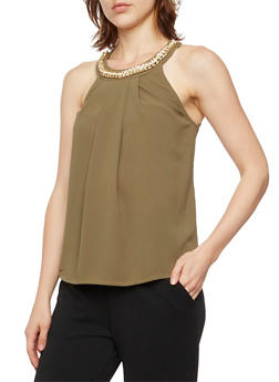 Sleeveless Top with Crystal Chain Scoop Neck - 3001058755746