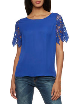 Chiffon Top with Short Crochet Sleeves - 3001058756005
