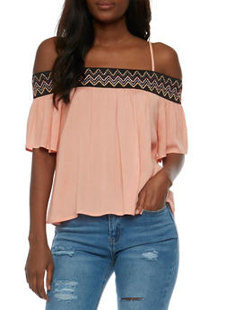 Off the Shoulder Gauzy Top with Embroidered Trim - 3001058756723