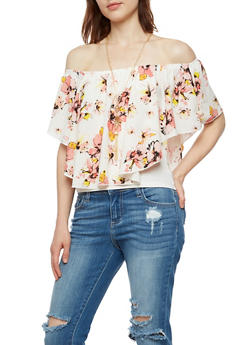 Off the Shoulder Floral Top with Necklace - 3001058757350