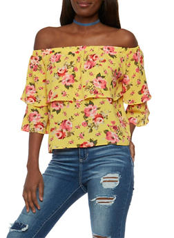 Off the Shoulder Floral Double Ruffle Top - 3001058757393