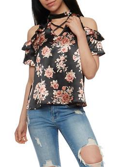 Cold Shoulder Floral Print Choker Top - 3001058757474