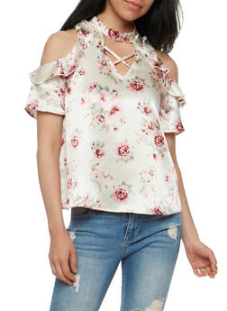 Cold Shoulder Floral Print Choker Top - 3001058757474