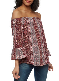 Off the Shoulder Printed Top with Bell Sleeves - 3001058757477