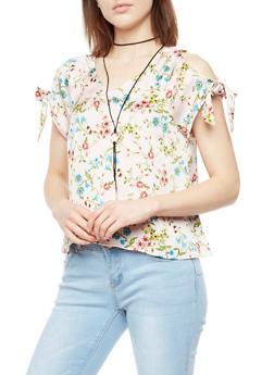 Floral Satin Cold Shoulder Top with Necklace - 3001058757479