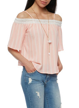 Off the Shoulder Striped Top with Crochet Trim - 3001058757486