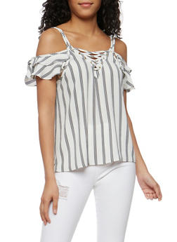 Striped Lace Up Cold Shoulder Top - WHT-BLK - 3001058757487