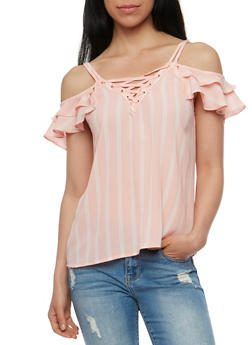 Striped Lace Up Cold Shoulder Top - 3001058757487