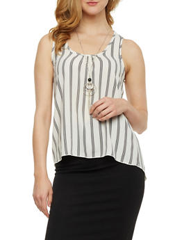 Striped Racerback Tank Top with Necklace - 3001058757488