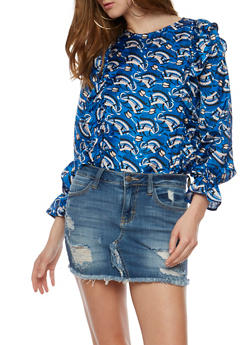 Long Sleeve Printed Ruffle Top - 3001058757502