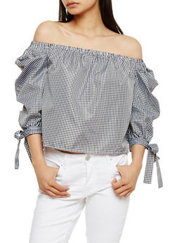 Off the Shoulder Gingham Tie Sleeve Top - BLACK/WHITE - 3001058757503