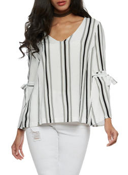 Striped Top with Bell Sleeves - 3001058757506