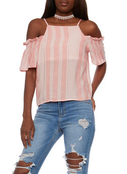 Short Sleeve Striped Cold Shoulder Top - 3001058757966