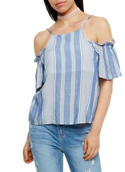 Short Sleeve Striped Cold Shoulder Top - 3001058757966