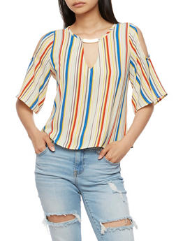 Striped Cold Shoulder Top with Metallic Accent - 3001058757970