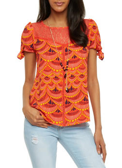 Lace Yoke Printed Top with Necklace - 3001058757971