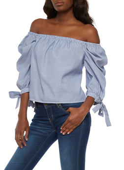 Off the Shoulder Striped Top with Tie Sleeves - 3001058757988