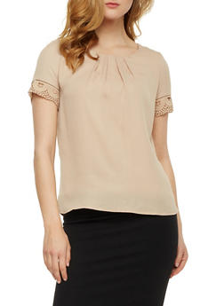 Solid Chiffon Top with Crochet Trim - 3001058758106