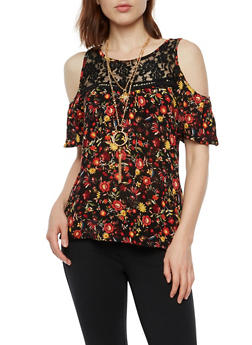 Cold Shoulder Printed Top with Lace Detail and Necklace - 3001058758120