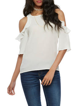 Cold Shoulder Flair Top with Choker Necklace - WHITE - 3001058758162