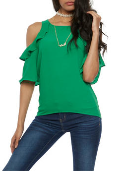 Cold Shoulder Flair Top with Choker Necklace - 3001058758162