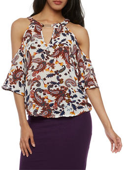 Paisley Print Cold Shoulder Top with Metallic Neckline Detail - 3001058758163