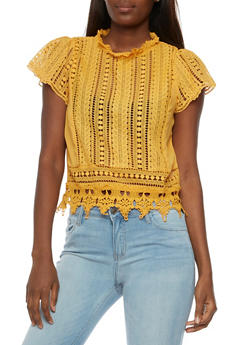 Crocheted Mock Neck Top - 3001058758164