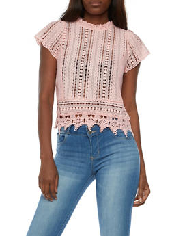 Crocheted Mock Neck Top - BLUSH - 3001058758164