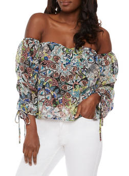 Off the Shoulder Floral Top with Ruched Sleeves - 3001058758194