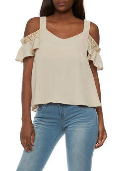 Cold Shoulder Top with Crochet Detail - 3001058758198