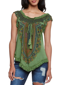 Off-The-Shoulder Top with Dashiki Print - OLIVE - 3001058758205