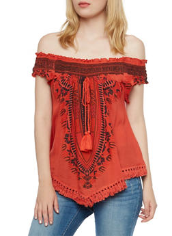 Off-The-Shoulder Top with Dashiki Print - RUST - 3001058758205