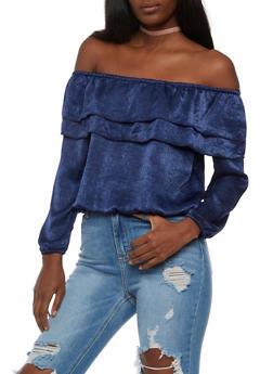 Off the Shoulder Bubble Sleeve Top - 3001058758206