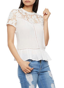 Floral Crochet Yoke Top with Flounce Hem - WHITE - 3001058758218