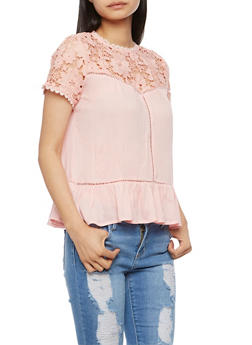 Floral Crochet Yoke Top with Flounce Hem - 3001058758218
