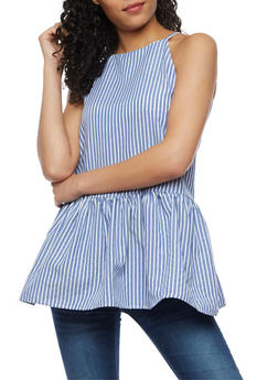 Striped Tunic Tank Top with Flounce Hem - 3001058758239