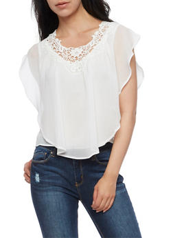 Ruffled Gauze Knit Top with Crochet Neck - IVORY - 3001058758319