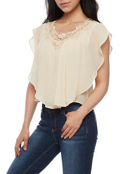 Ruffled Gauze Knit Top with Crochet Neck - 3001058758319