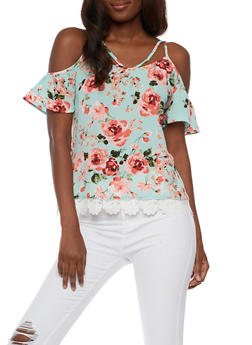 Caged Cold Shoulder Floral Top with Crochet Trim - 3001058758383