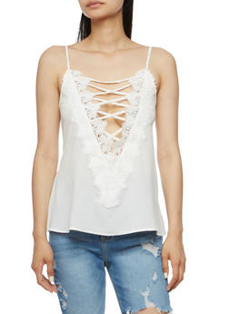 Lace Up Crochet Tank Top - OFF WHITE - 3001058758431