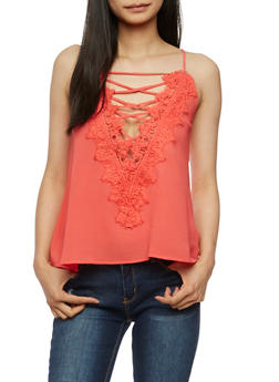 Lace Up Crochet Tank Top - 3001058758431