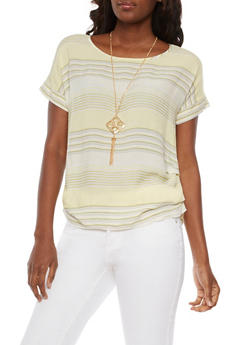 Short Sleeve Striped Top with Necklace - 3001058758510