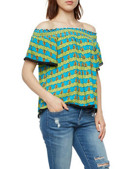 Off the Shoulder Printed Top - 3001058758514